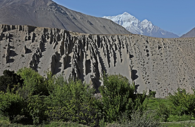 Wind worn rock features on the Upper Mustang trek