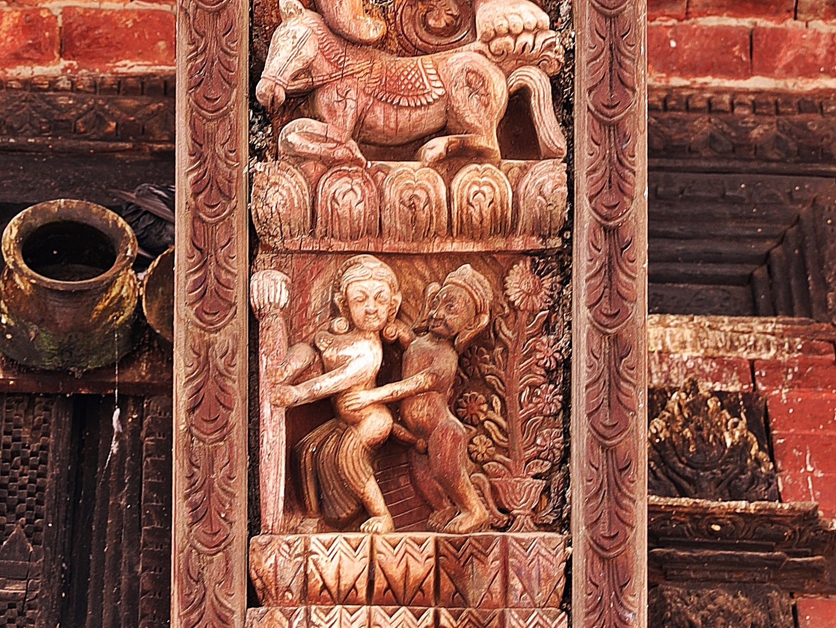 Erotic carvings on Pashupatinath temple, Bhaktapur