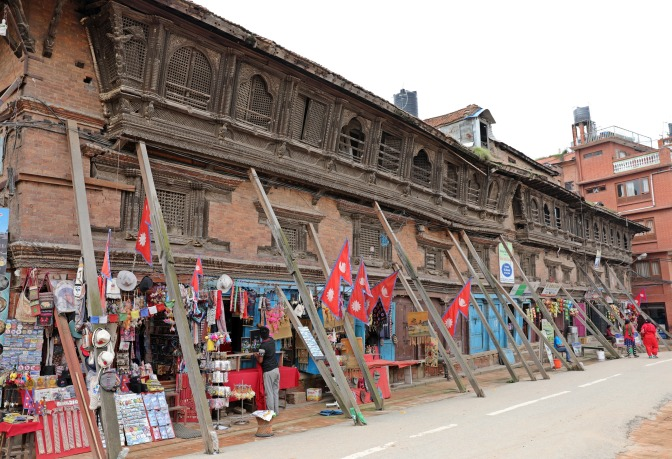 Wooden braces stabilizing a building in Bhaktapur