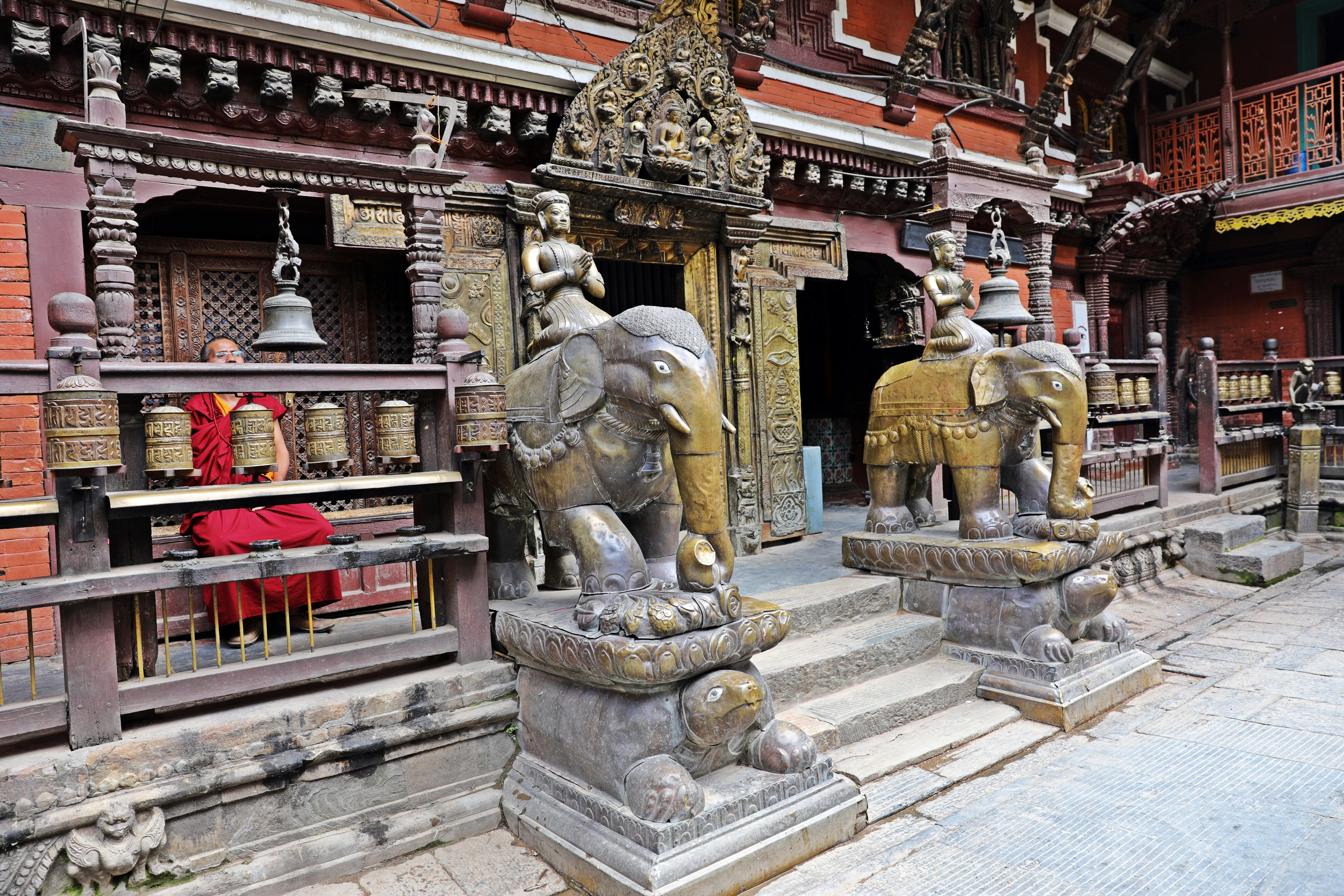 Elephants at the entrance to Golden Temple, Patan