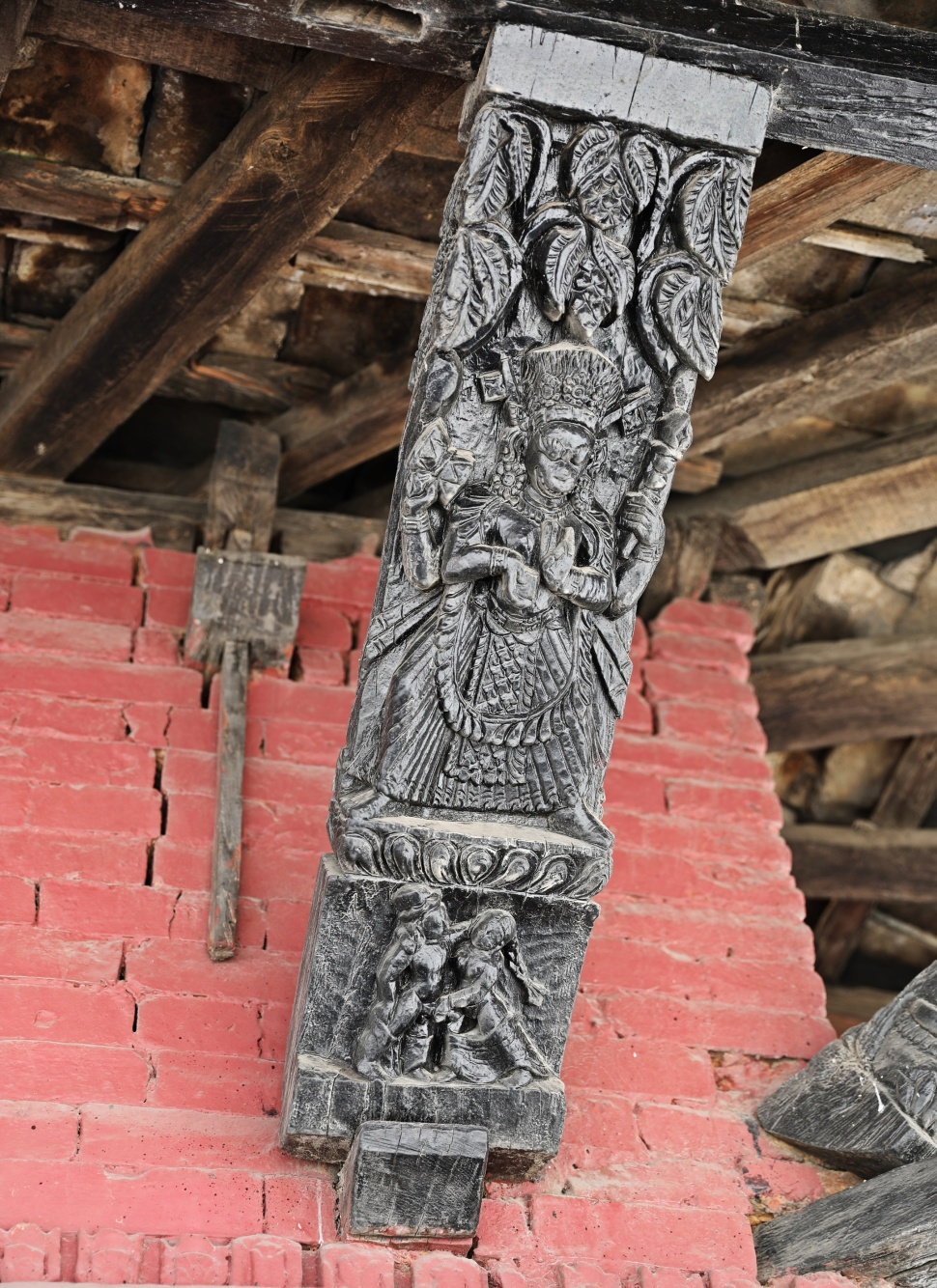 Wooden carvings on Bimsen Temple, Pokhara
