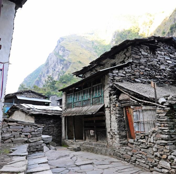 Typical homes on the Manaslu Circuit Trek