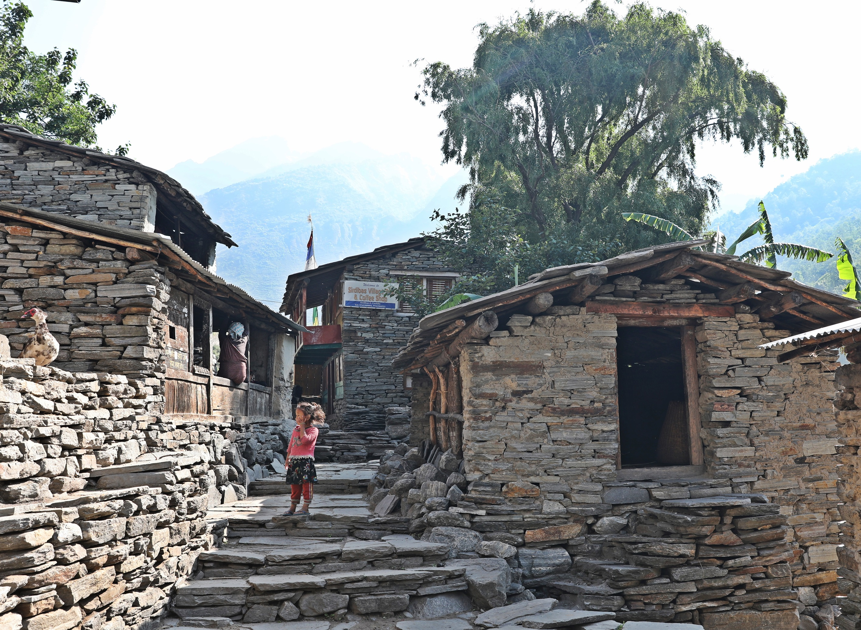 Stone houses on the Manaslu Circuit Trek