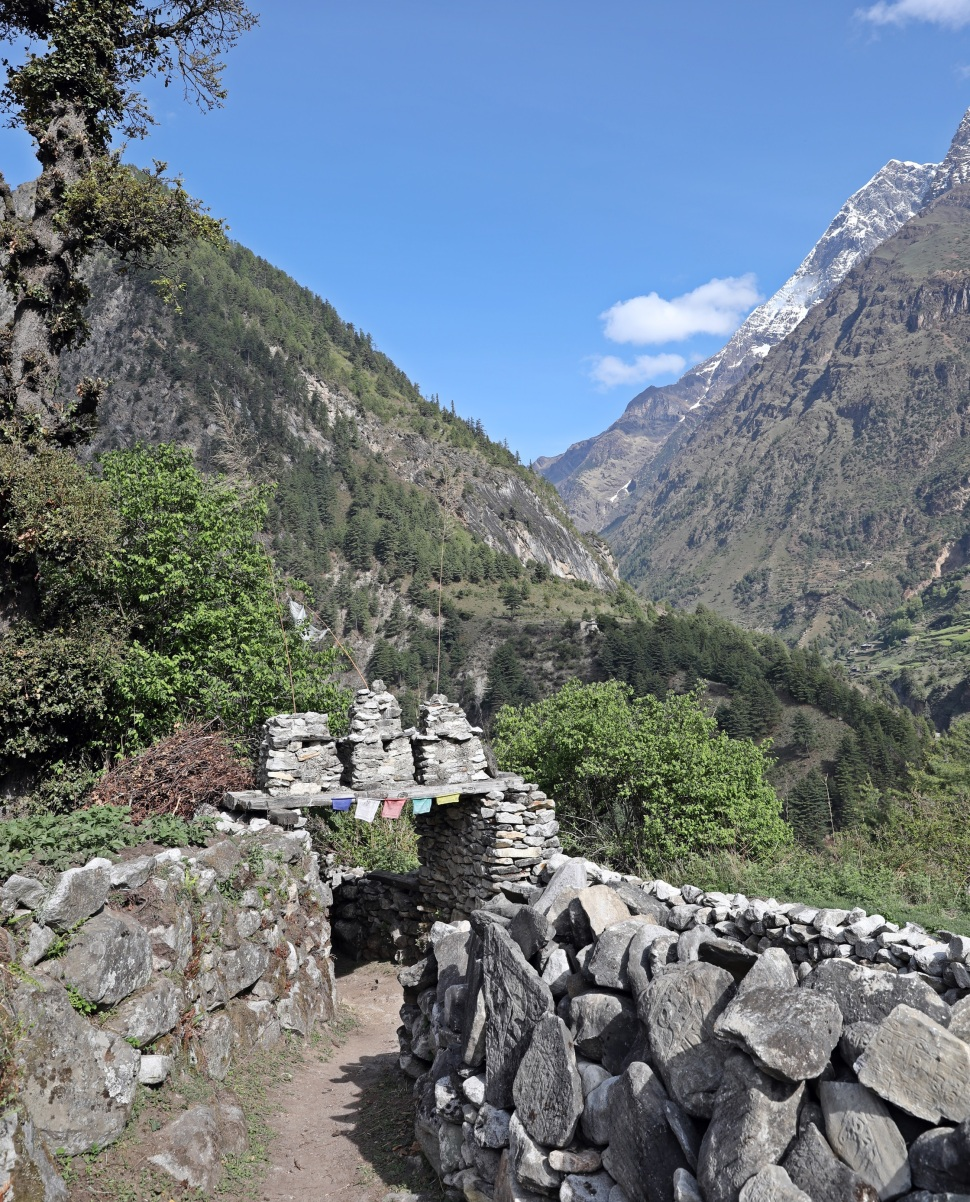 A Buddhist kani and mani wall on the Manaslu Circuit trek
