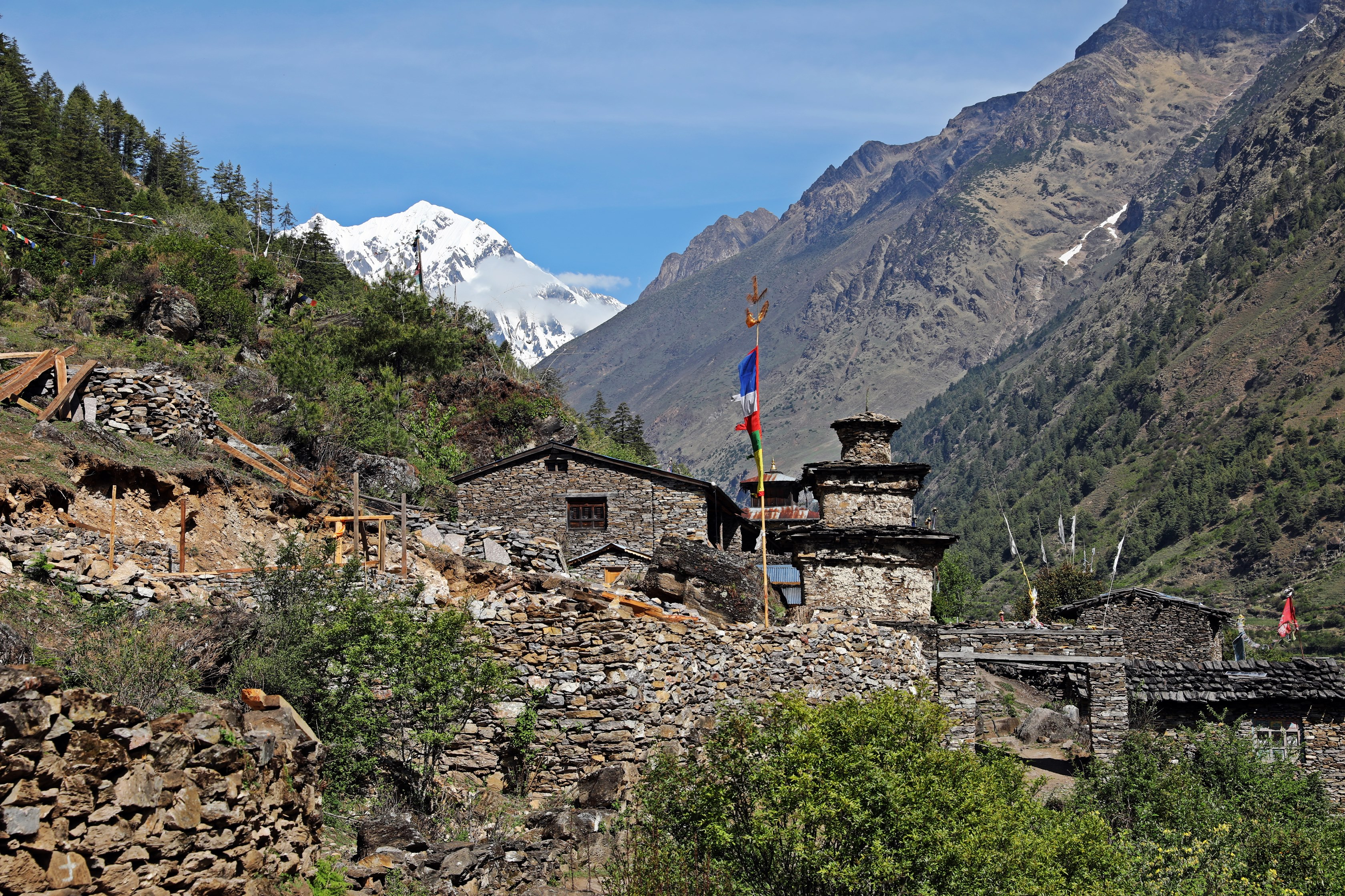 Stone village with Manaslu Range behind