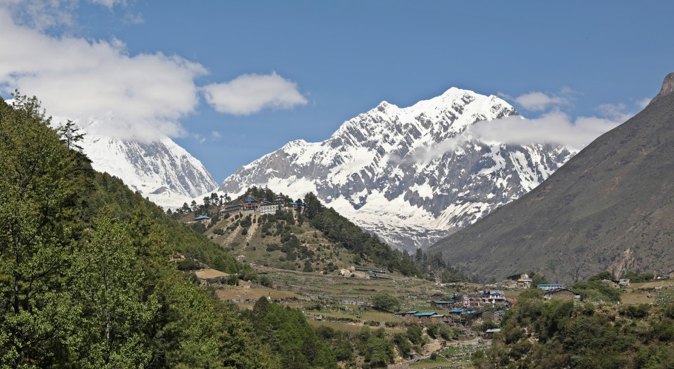Mt Manaslu (far left) and the Lho Gumpa beneath