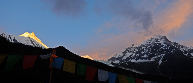 View from our guesthouse of Mt Manaslu at sunrise