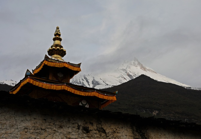 Kargyu Chholing Gompa with Mt. Manaslu