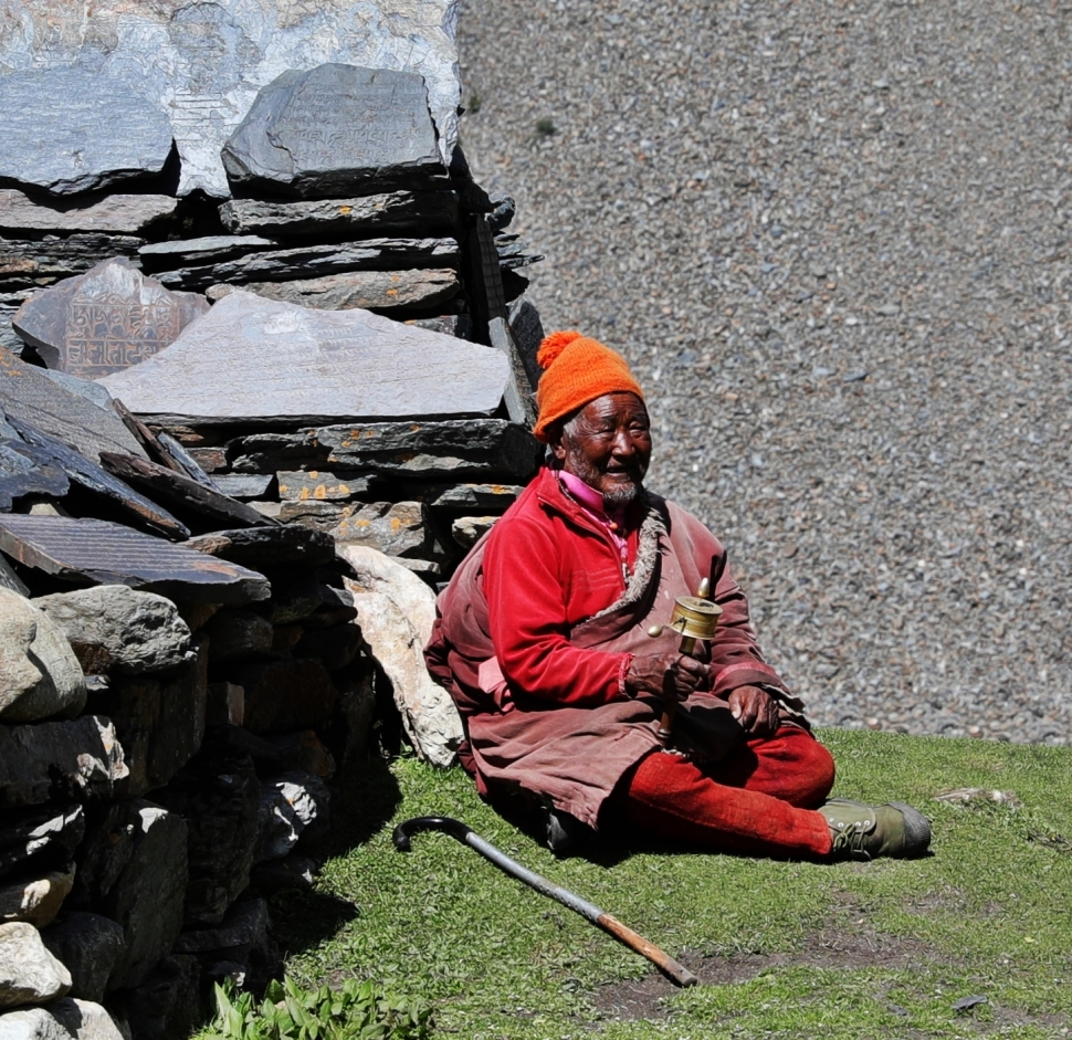 Samdo villager with a prayer wheel