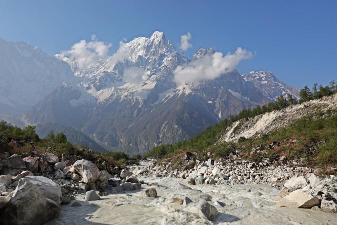 Phungi Peak and the Dudh Khola (River)