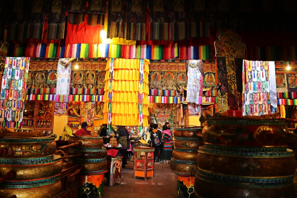 Inside a college temple at Tashi Lhunpo Gompa