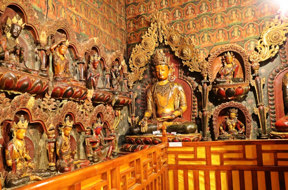 Old wood carvings in Phalkor Gompa