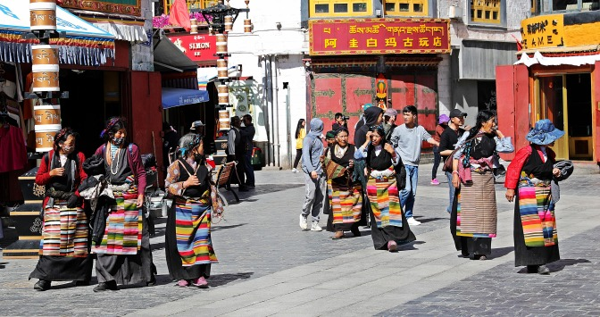 Pilgrims in Barkhor Bazaar