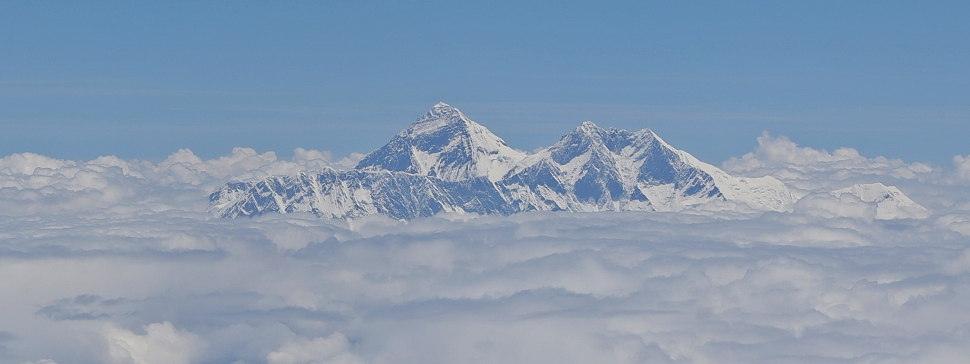 Everest (middle) , Lhotse (right), and Nuptse (left) from the plane