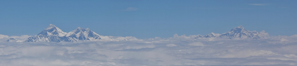 Everest with Nuptse and Lhotse; Makalu on the right