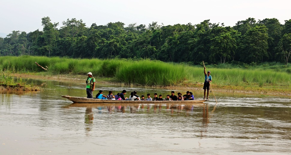 Wooden canoe on the Rapti River