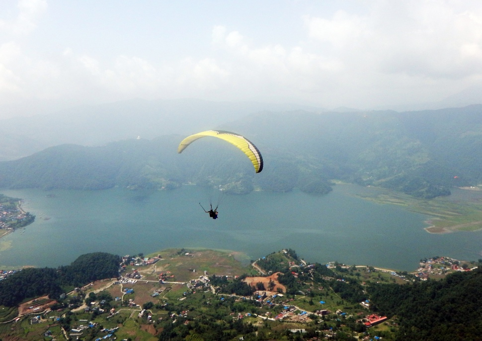 Maggie paragliding in Pokhara