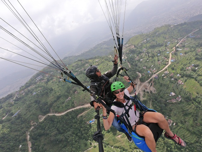 Paragliding above Pokhara