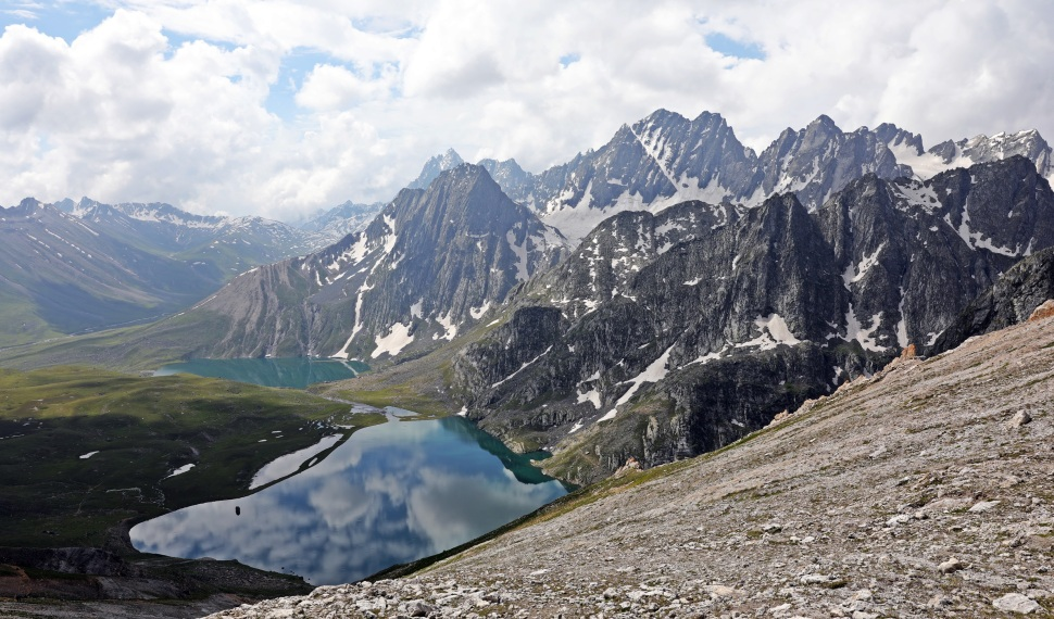 Vishansar and Krishnasar Lakes from Gadsar Pass, Great Lakes Trek