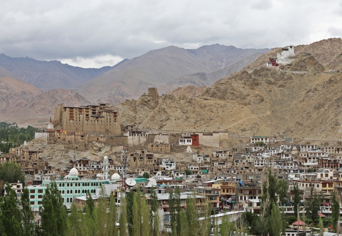 Leh with the palace and fort in the background