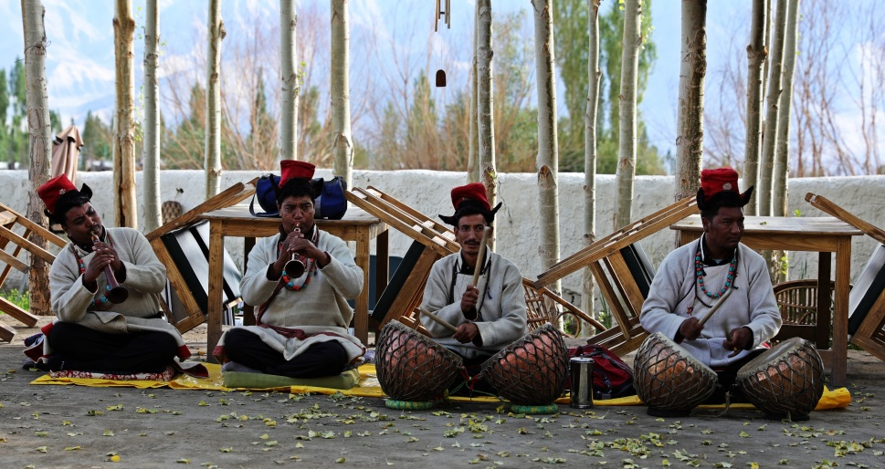 Musicians for the traditional Ladakhi dancers