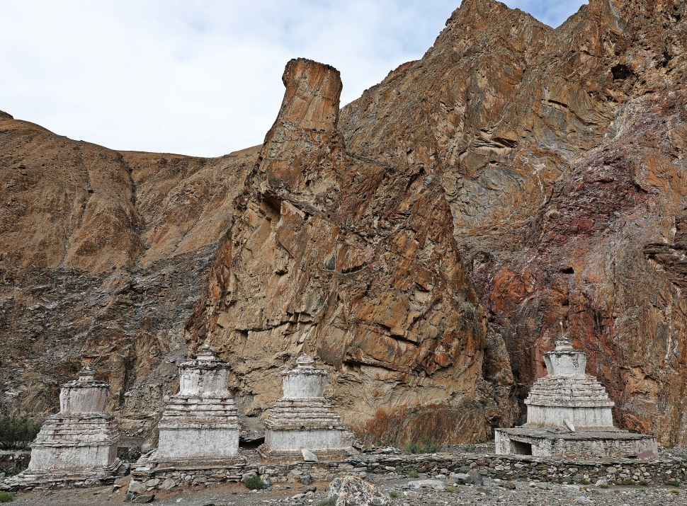 Chortens and rock formations in Markha Valley