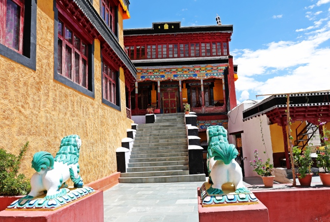 Colourful courtyard in Tiksey Gompa