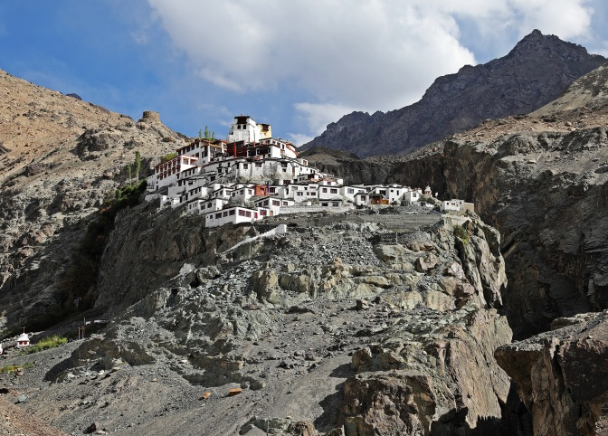 Diskit Gompa set between two cliffs