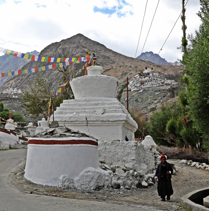 Chortens in Diskit with Gompa in the background