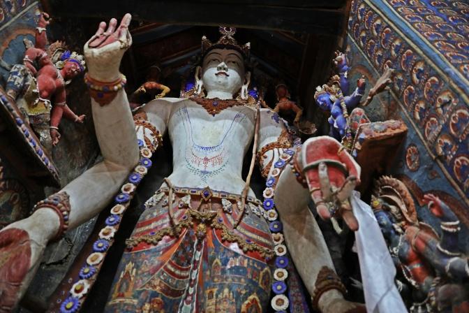 11th century wooden statue of Future Buddha, Alchi