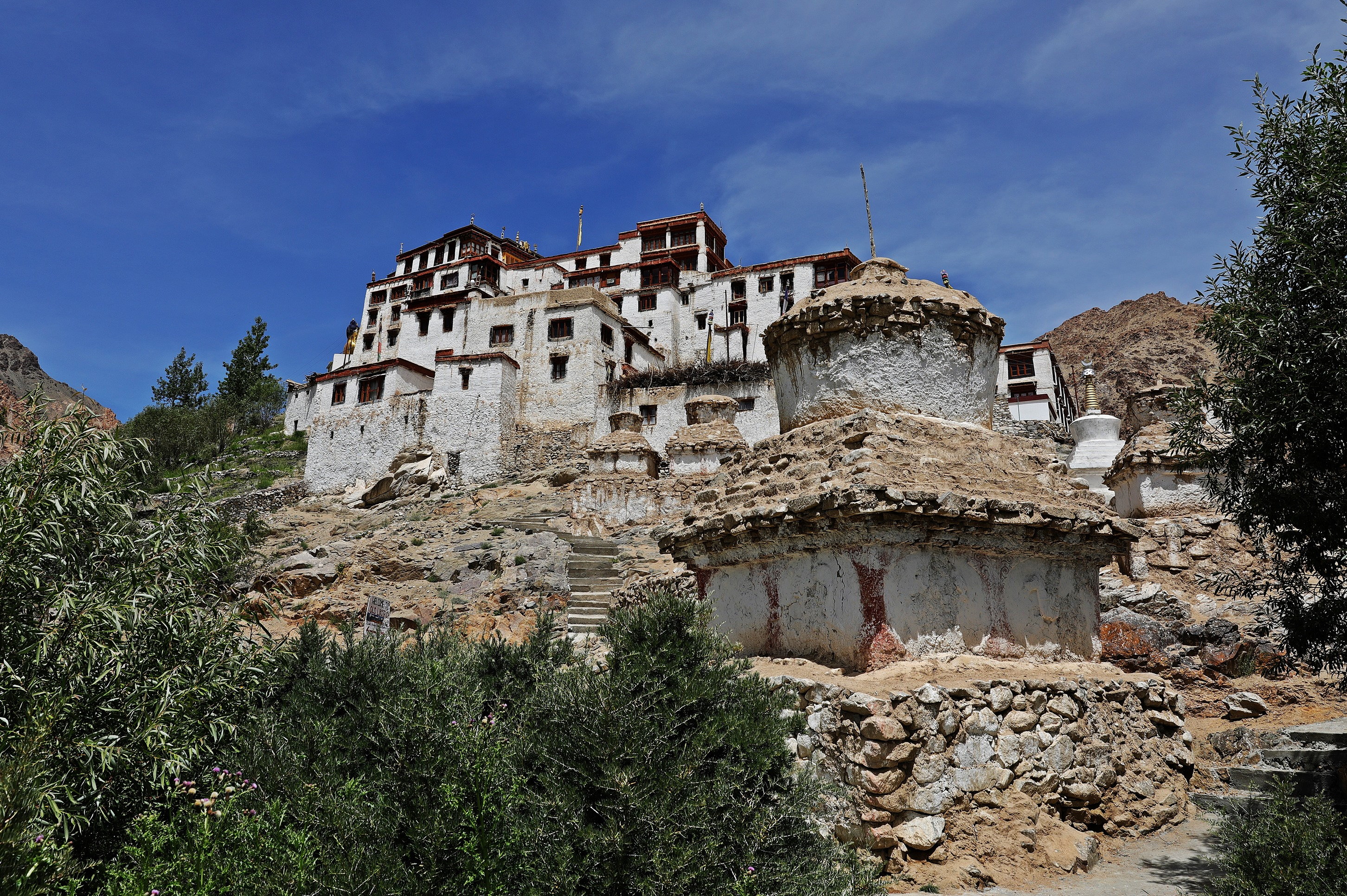 Likir Gompa with an old chorten in front