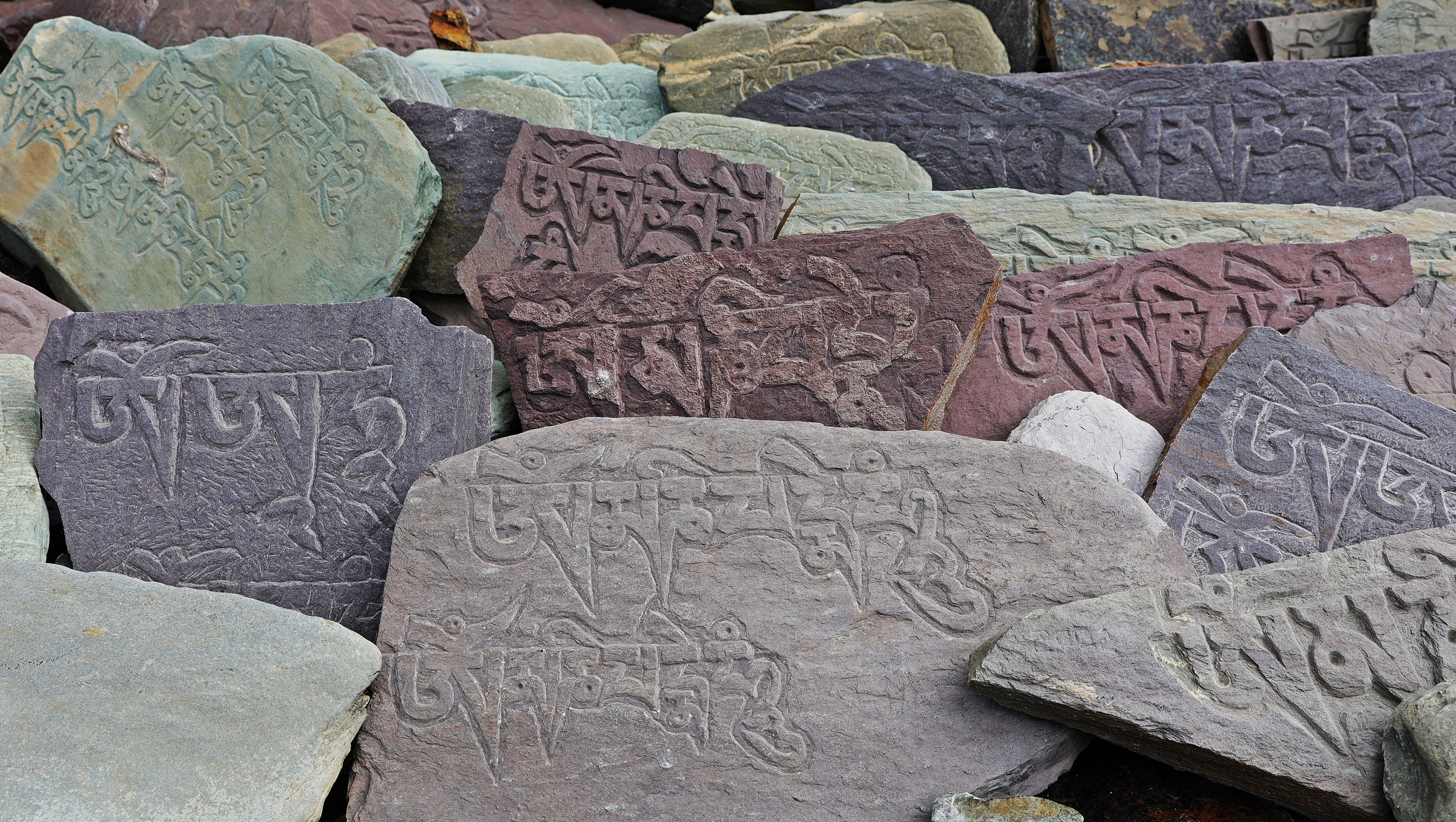 Colourful man stones