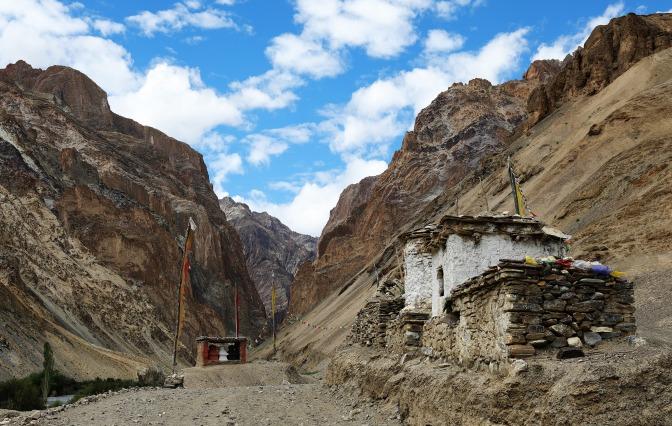 Chortens and mani wall on the Hidden Valleys Trek