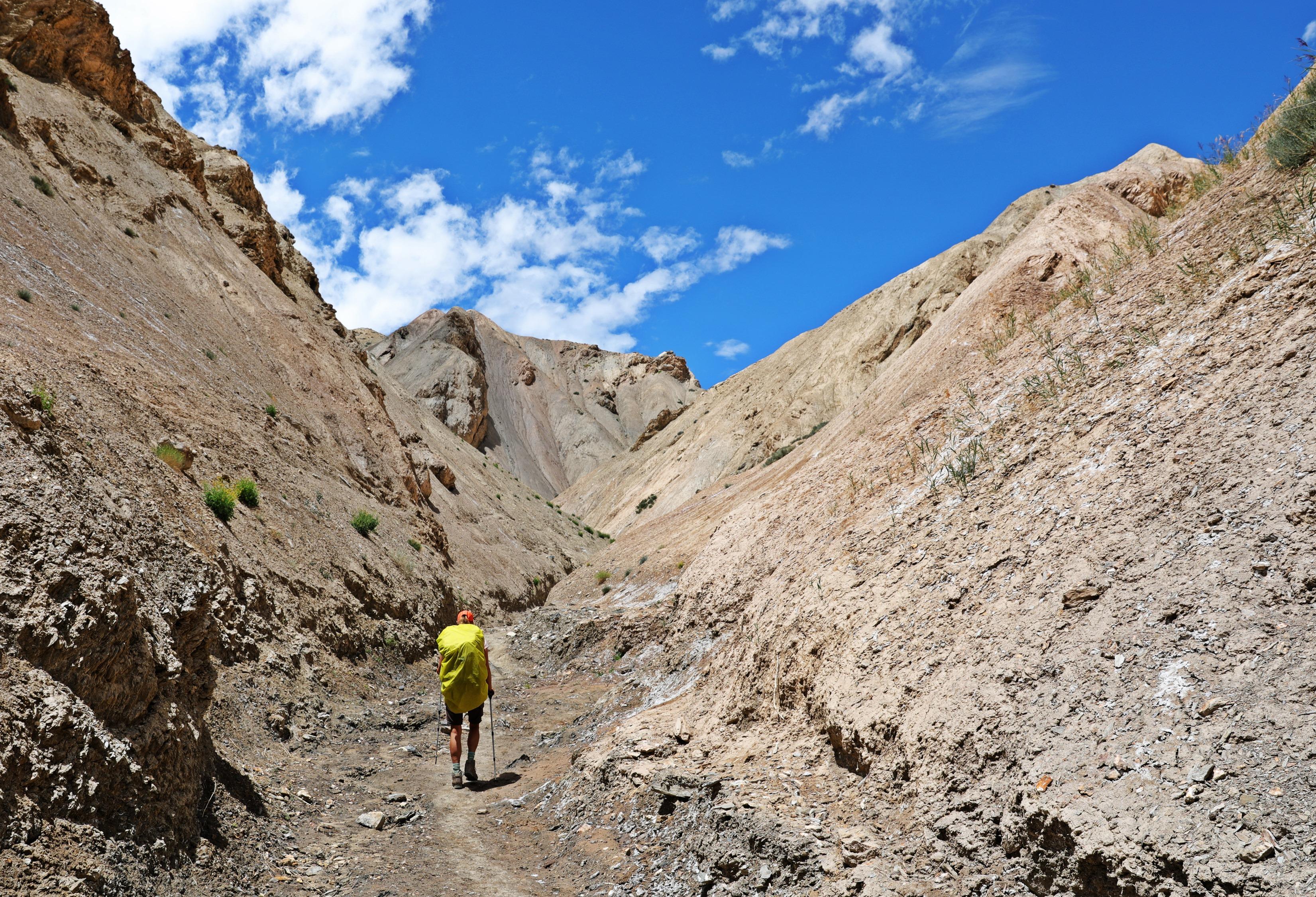 Narrow gorge on the way to Prinkti La