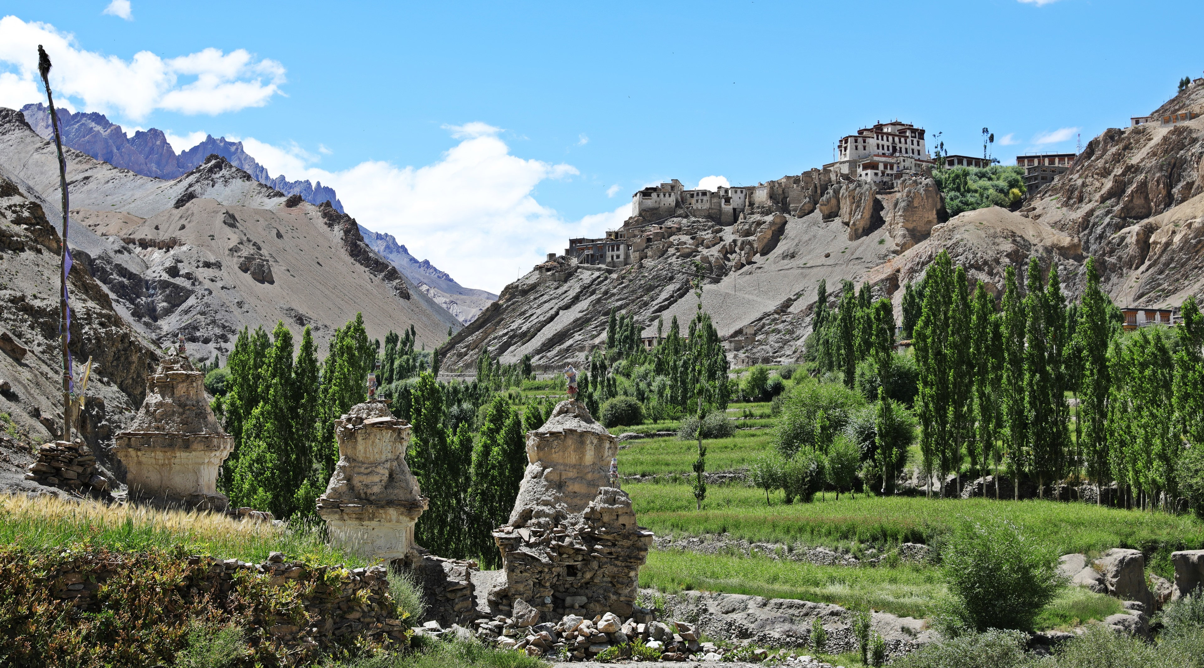 Lamayuru Gompa on a hill above the valley