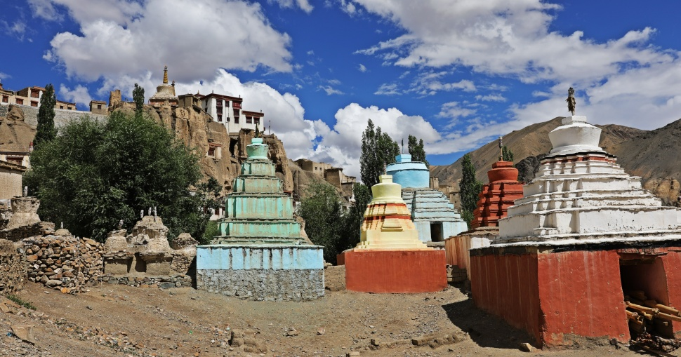 Colourful chortens in Lamayuru