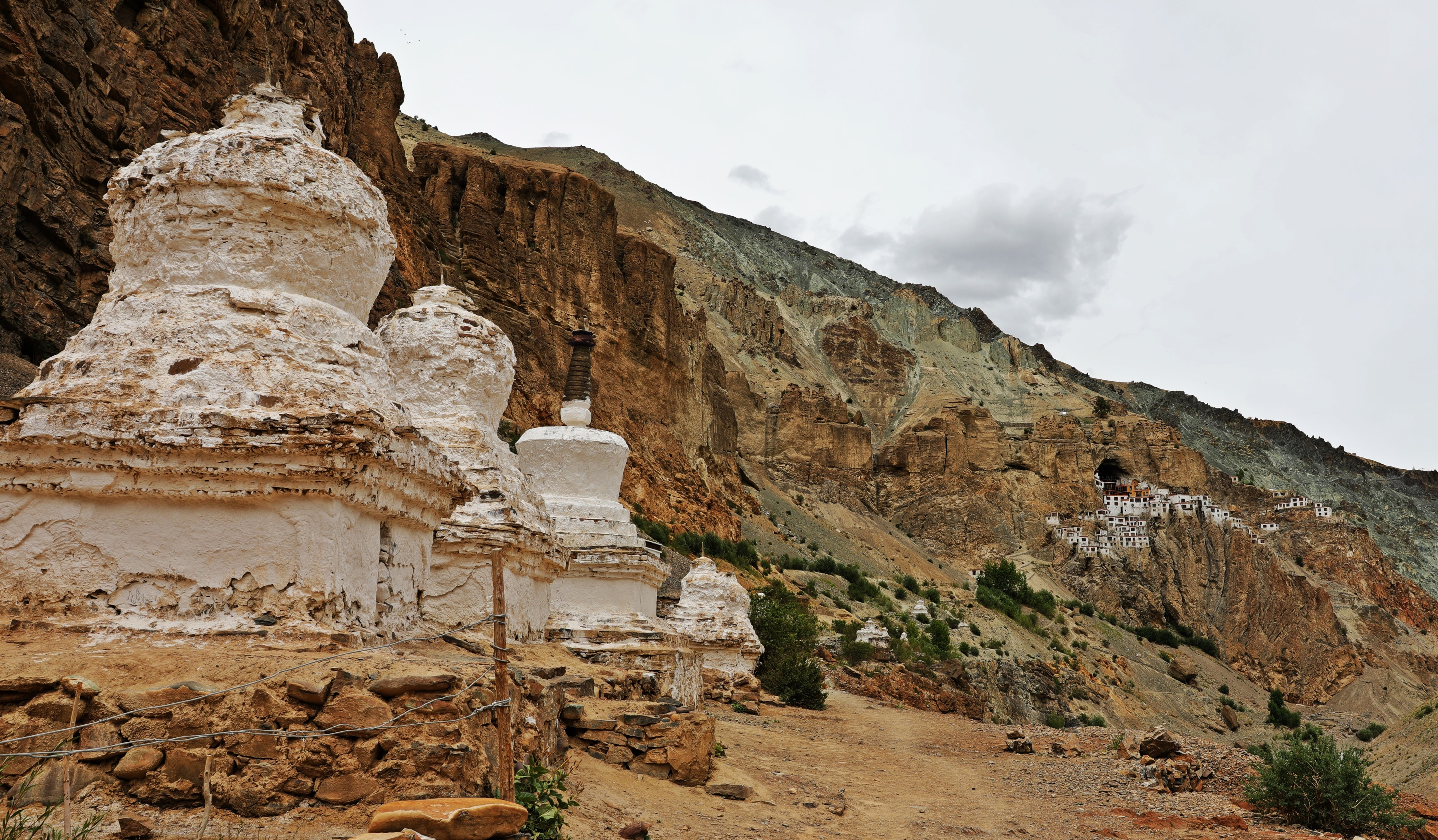 Chortens with Phuktal Gompa behind