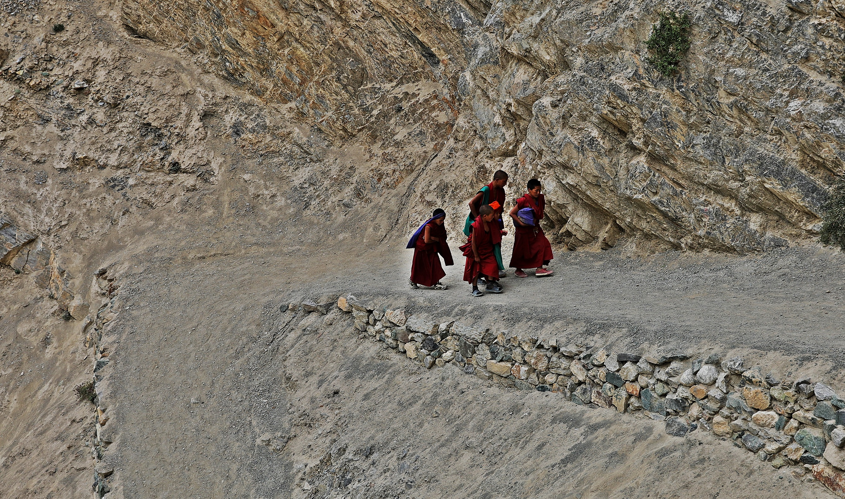 Novice monks at Phuktal Gompa