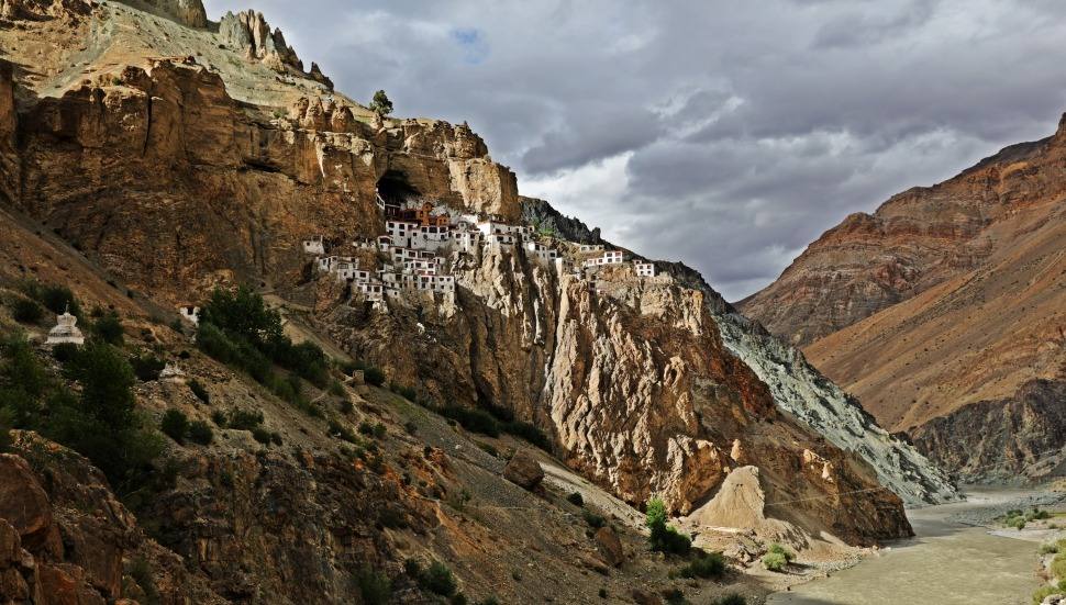 Dark clouds above Phuktal Gompa