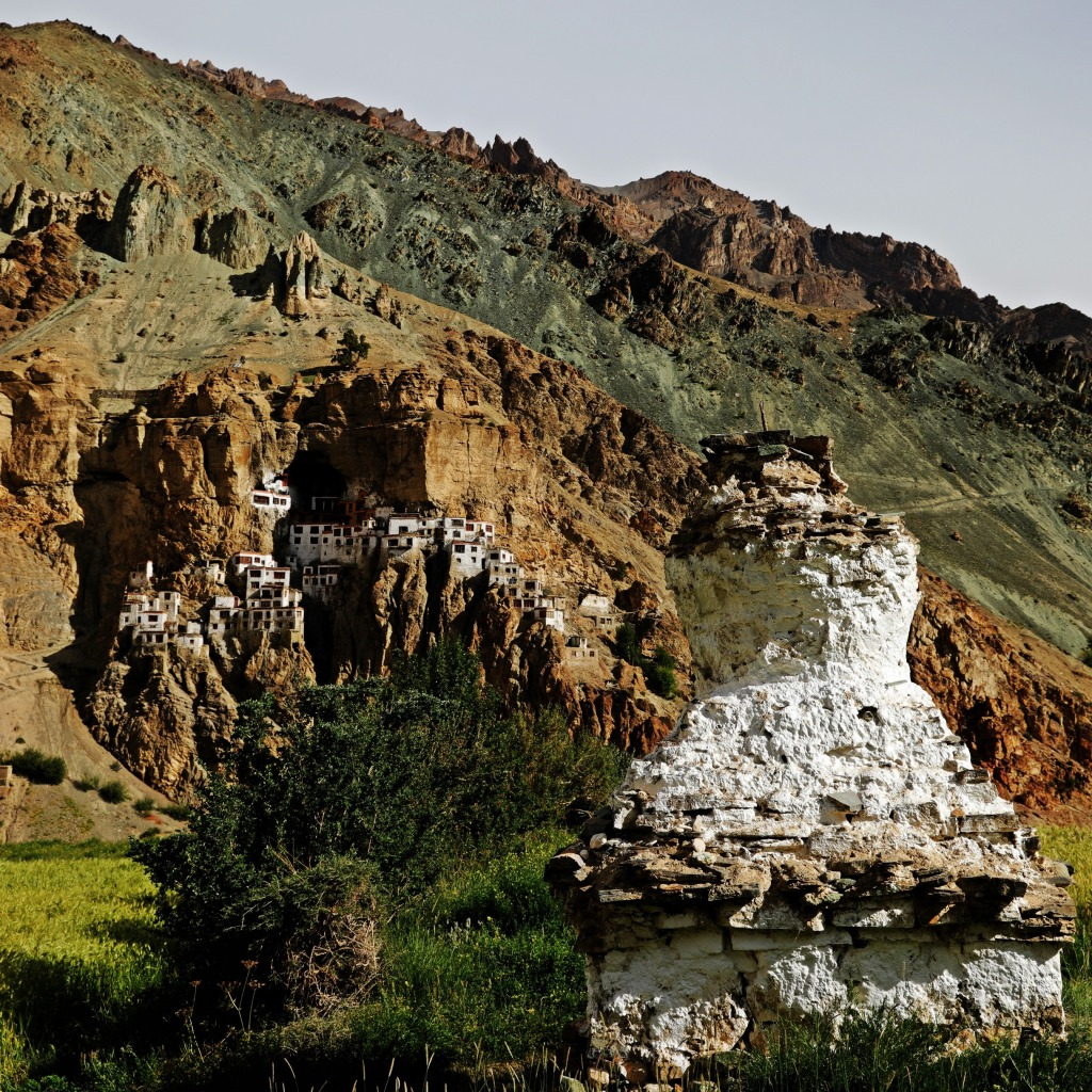 Phuktal Gompa and an old chorten from village