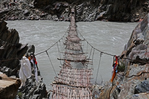 Rickety twig woven bridge