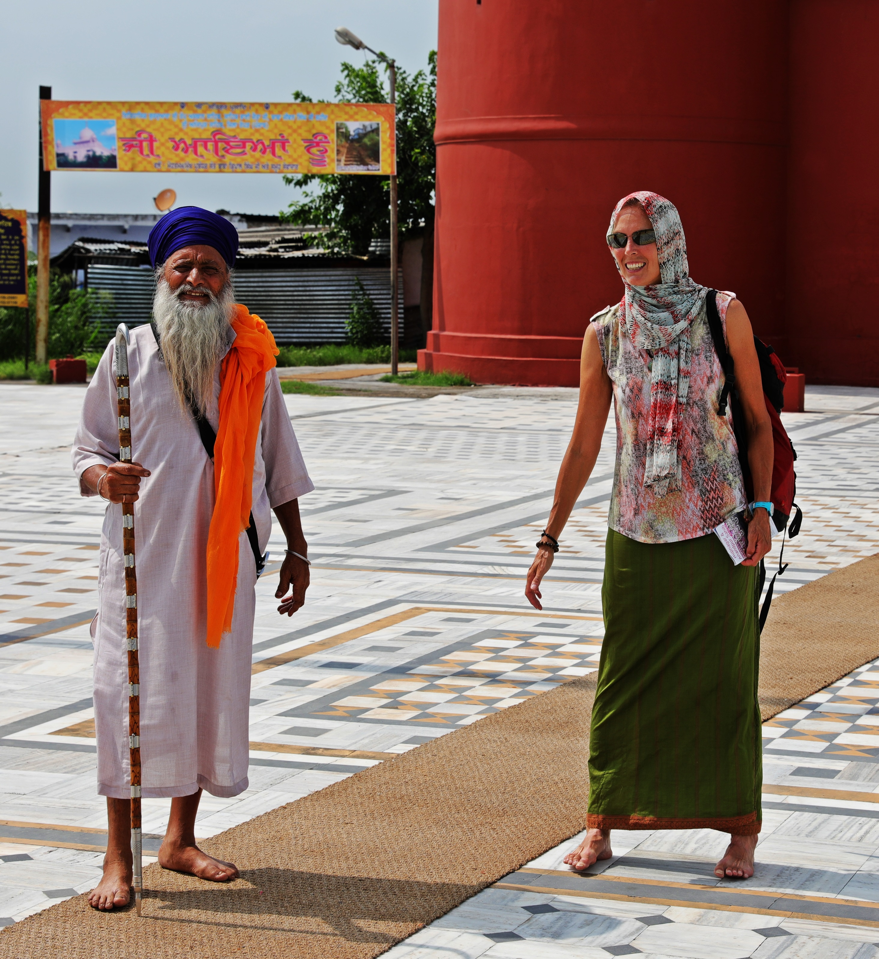 Sikh man in traditional dress outside Anandpur Fort