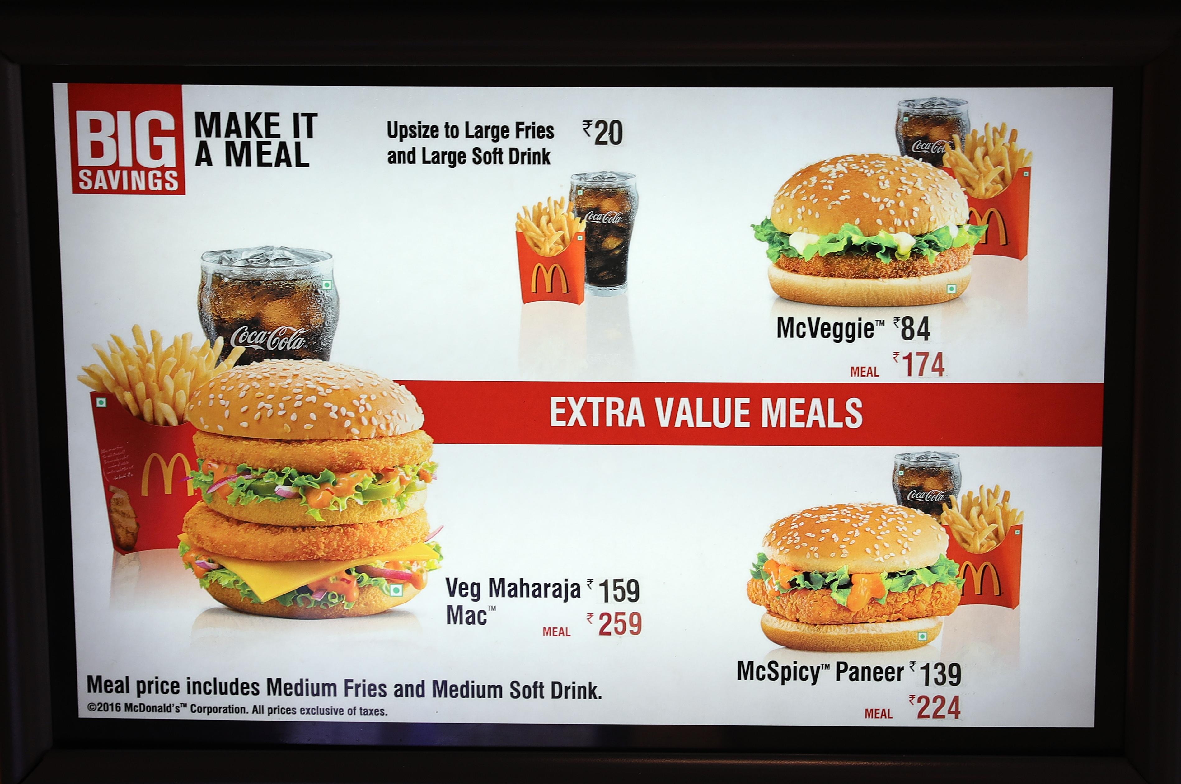 Punjab McDonald's menu