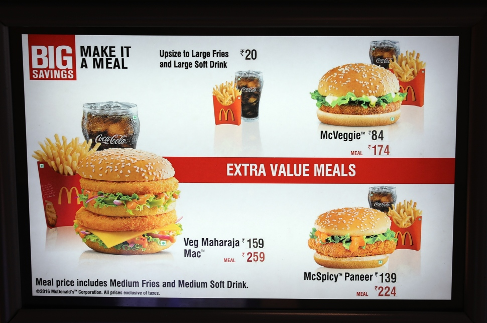 Punjab McDonald's menu