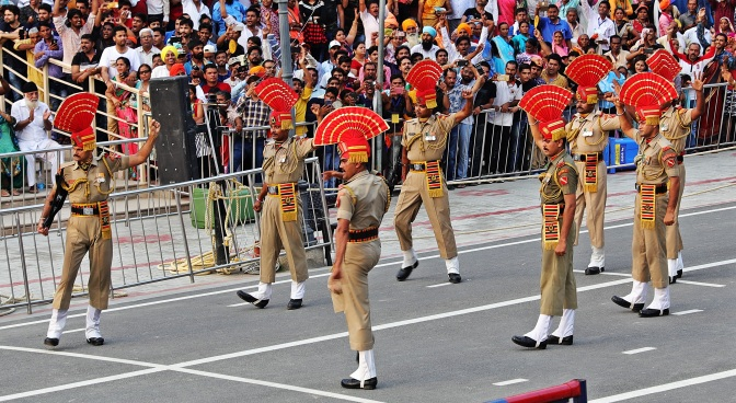 Indian Border Guards flexing their muscles, Wagah Border Closing Ceremony