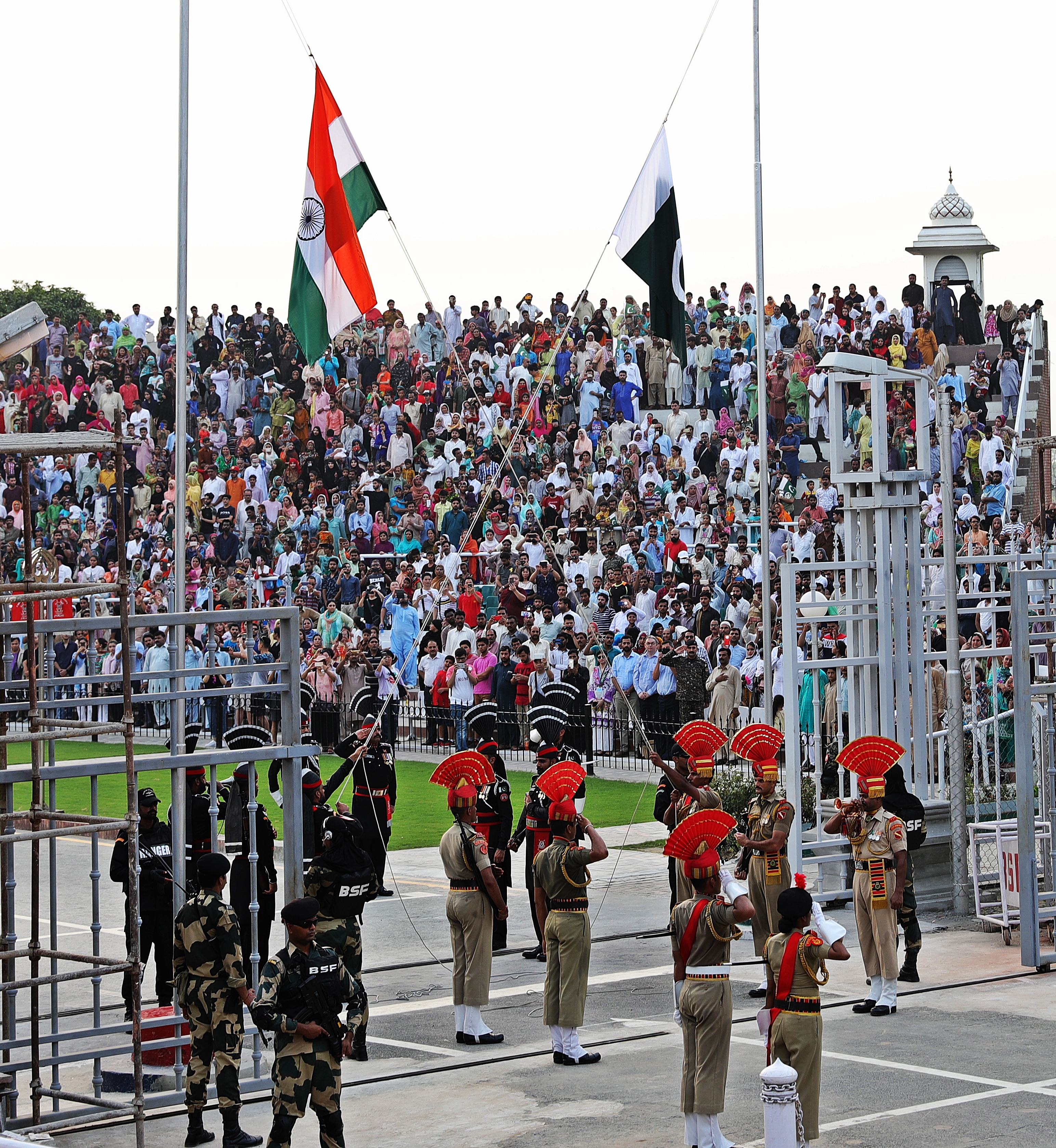 Lowering the flags at the Wagah Border Ceremony