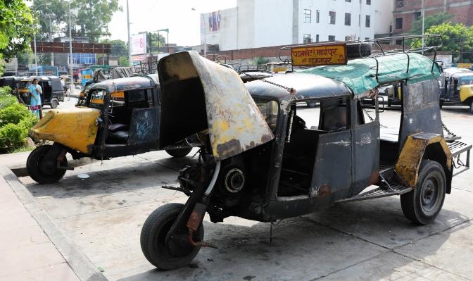 Home-made auto-rickshaws (tuk-tuks)