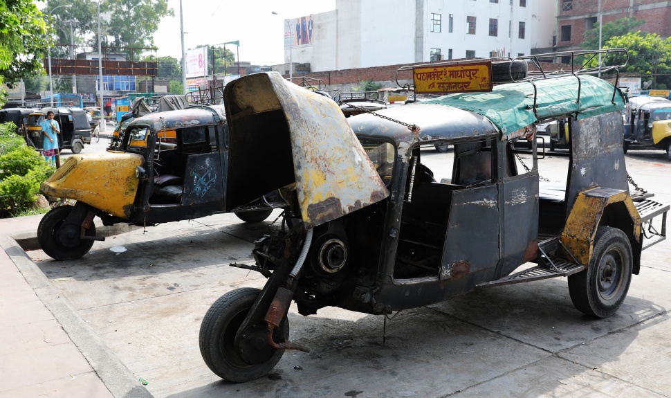 Home-made auto-rickshaws (tuk-tuks)