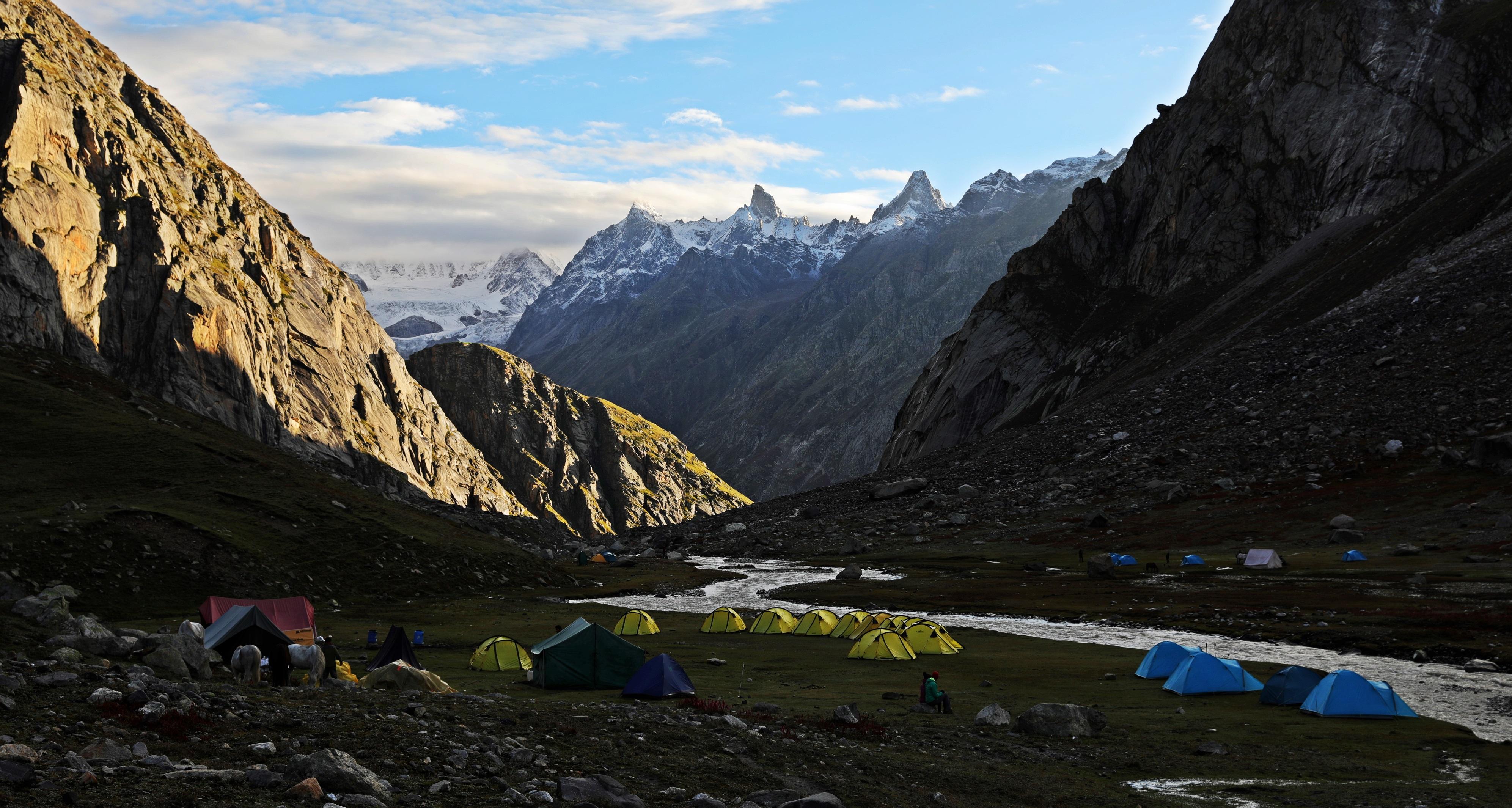 Beautiful morning at Camp 3, Hampta Pass Trek