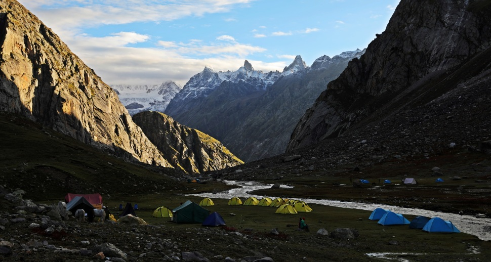 Beautiful morning at Camp 3, Hampta Pass Trek